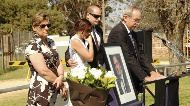 The Noble family at Saturday's memorial service for Chris Noble.