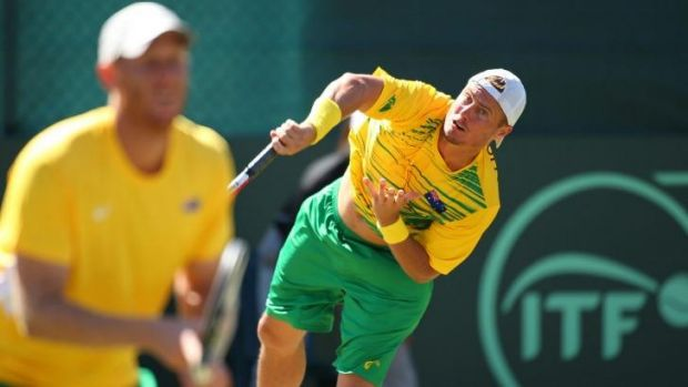 Hewitt, right, and Guccione cruised through the doubles to seal the tie for Australia.