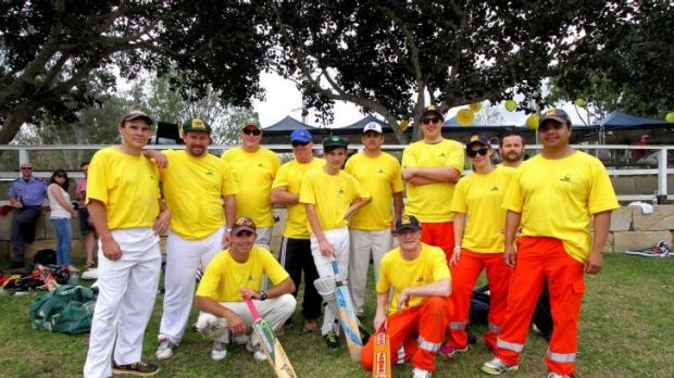 Firefighters from Ipswich, Police from Indooroopilly and SES from Moggill take part in the cricket.