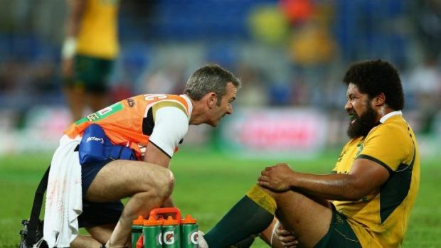 Hurt again: Tatafu Polota-Nau of the Wallabies.
