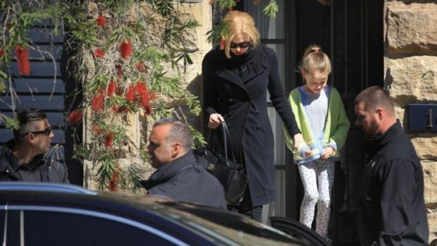 Grieving: Nicole Kidman leaves her sister's home on Sunday.