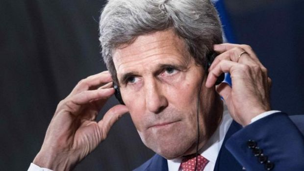 Talking: US Secretary of State John Kerry has been touring the Middle East in an attempt to win Arab and Turkish support ...