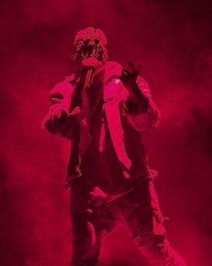 Kanye West performs during The Yeezus Tour at Perth Arena.
