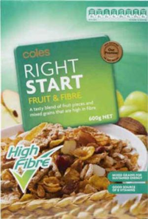Coles Right Start cereal.