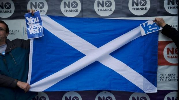 Yes please, we're Scottish: Independence supporters hold up the Scottish flag, the St Andrew's Cross.