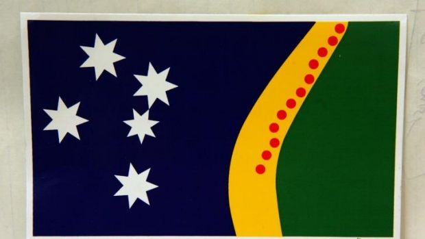 'This design has flair': Fred Rieben has distributed 80,000 stickers depicting his alternative flag.