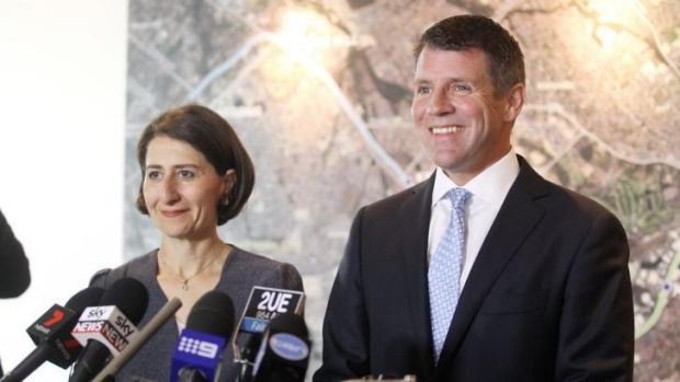 """""""It doesn't get much bigger or better than this"""": Premier Mike Baird and Transport Minister Gladys Berejiklian at the ..."""