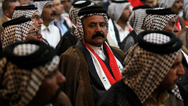 Iraqi tribal leaders attend a conference aimed at obtaining more decisive military action against IS.