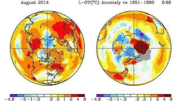 Parts of Antarctica the stand-out hot spots in August.