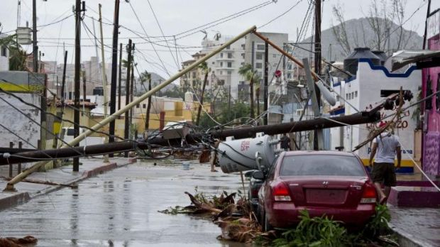 Devastation in the streets of Cabo San Lucas after Hurricane Odile swept through.