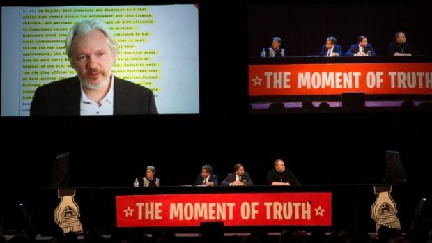 WikiLeaks founder Julian Assange speaks via video link to an Internet Party event in Auckland on Monday.