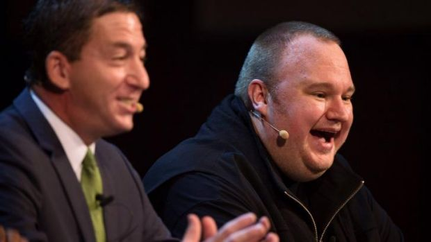 The founder of the Internet Party Kim Dotcom (right) with US journalist Glenn Greenwald in Auckland on Monday.