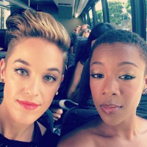 Lauren Morelli and Samira Wiley on a bus on the way to the 2014 Emmy Awards.