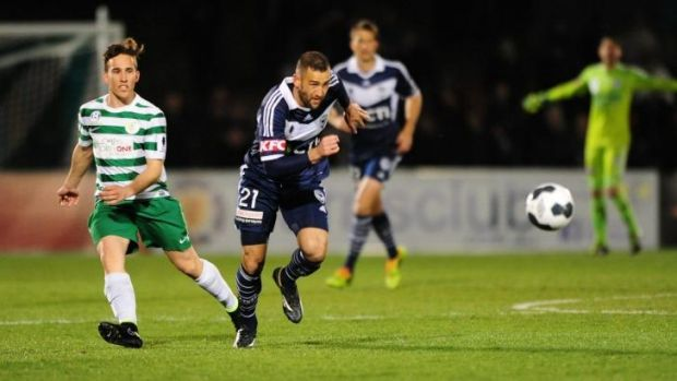 Homecoming: Melbourne Victory and Socceroos star Carl Valeri in action on Tuesday night.