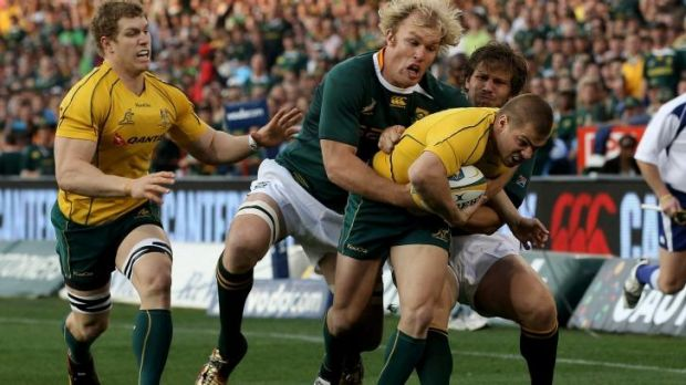 Schalk Burger gets to grips with Drew Mitchell back in 2011.