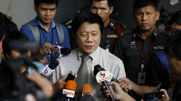 Commander of the Institute of Forensic Medicine Pornchai Suteerakune addresses reporters at the Police Forensic ...