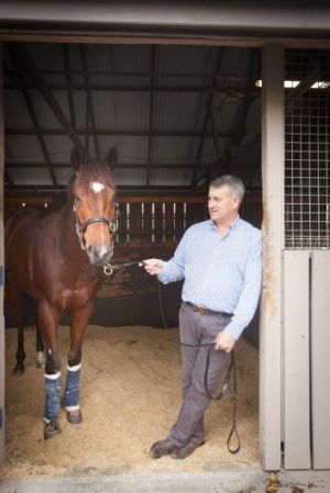 If the shoe fits: Hawkesbury trainer Noel Mayfield-Smith and his luckless gelding Famous Seamus.