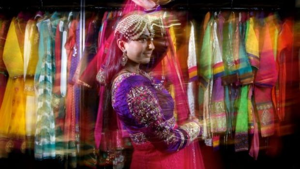 Shaleen Kumar tries on saris at Dulhan Exclusives in Liverpool, Sydney.