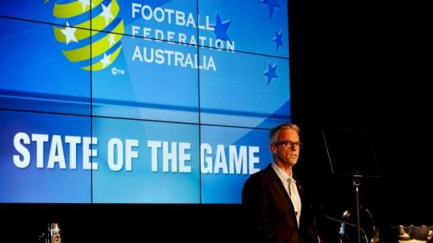 """""""I think football is uniquely placed"""": David Gallop delivers his speech on Thursday."""