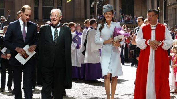 Anglican Dean of Sydney Phillip Jensen with the Duke and Duchess of Cambridge on their visit to Sydney.