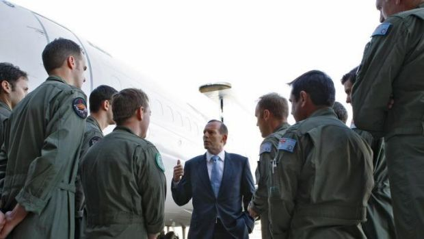 Tony Abbott speaking to troops at RAAF Base Williamtown: The Prime Minister has applauded Thursday morning's ...
