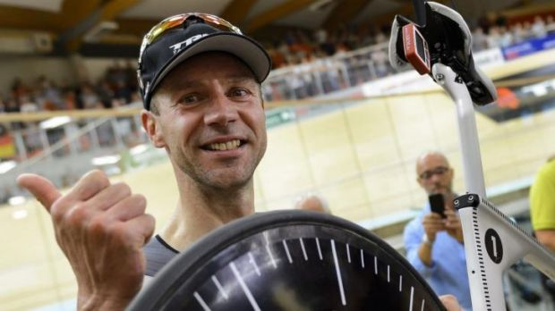 German cyclist Jens Voigt after he broke the world hour record at the Velodrome Suisse in Grenchen.