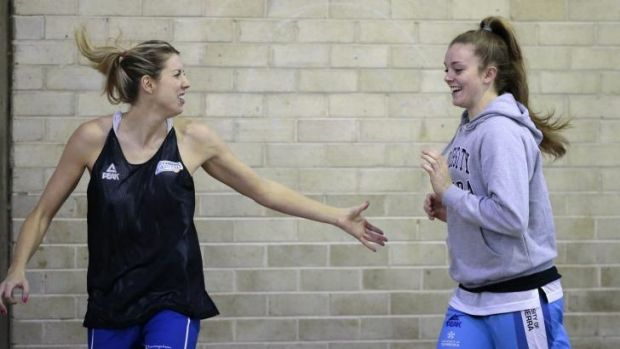 Canberra Capitals' Carly Wilson, left, and Abbey Wehrung at training.
