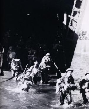 As the 7th Division advanced on Lae overland from Nadzab, the 9th Division disembarked from a landing ship's tank at ...