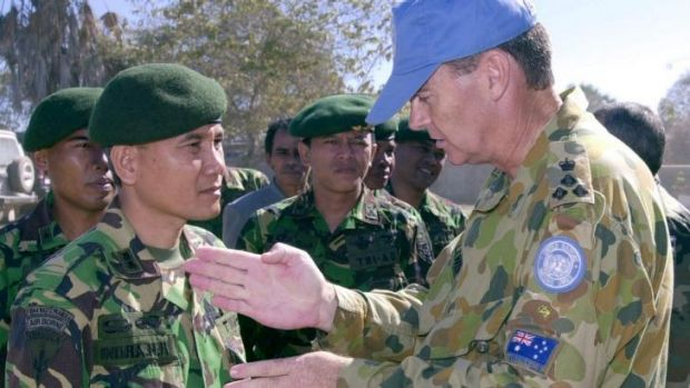 Then Australian Army Brigadier Duncan Duncan Lewis, right, in 2000, as United Nations Commander Sector West in East ...
