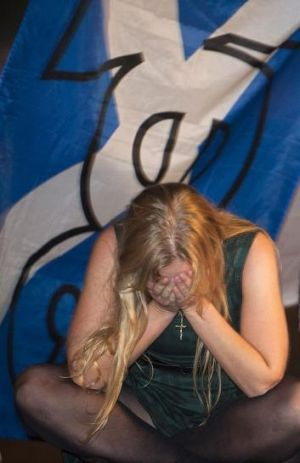A distraught independence supporter.