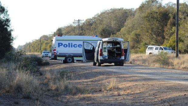 Farmer charged with murder: Police arrive at the scene of the crime outside Moree.