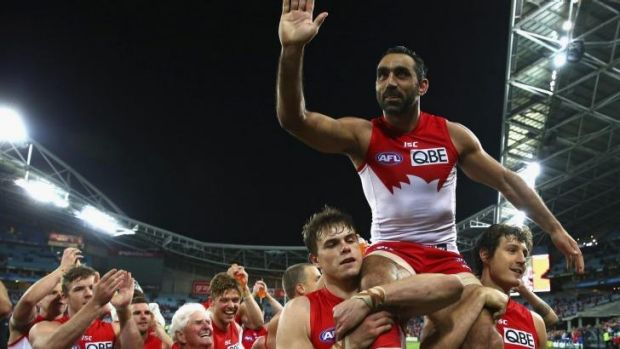 Champion: Adam Goodes will have a shot at his third premiership flag after helping the Swans dispose of North Melbourne ...