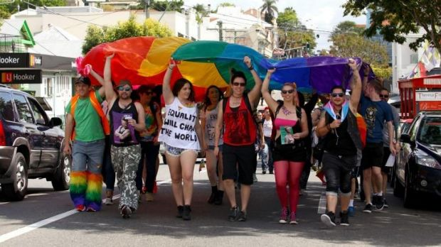 Gay Pride participants on the march in the Valley,
