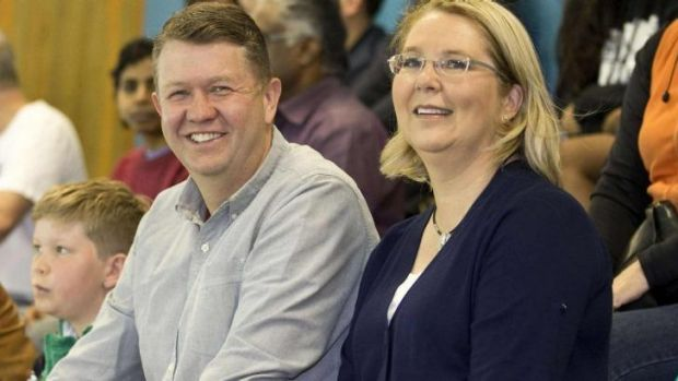 New Zealand Opposition Leader David Cunliffe (left) with his wife Karen Price.
