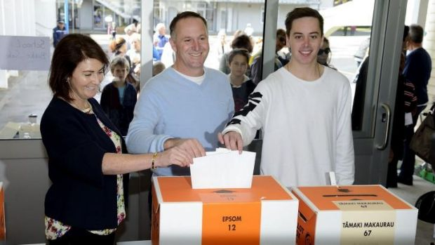 New Zealand Prime Minister John Key and his family vote.