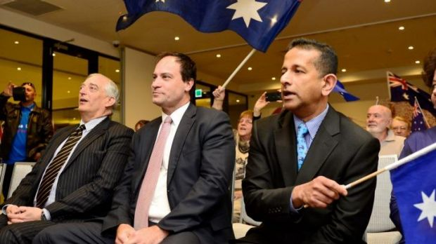 UK climate change skeptic Christopher Monkton (left), independent Frankston MP Geoff and Rise Up Australia leader Danny ...