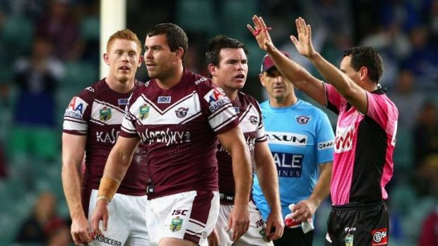 Heading off: Josh Starling of the Sea Eagles is sent to the sin bin.