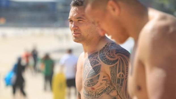 Splash of success: Jared Waerea-Hargreaves at Bondi Beach this morning.