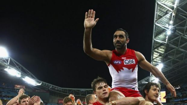 Legend: Adam Goodes is chaired off the field after his 350th AFL match at the end of the preliminary final against North ...