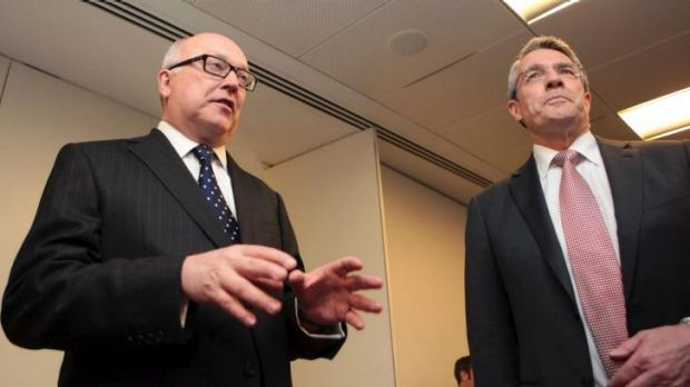 Attorney-General George Brandis, left, with his opposition counterpart Mark Dreyfus.