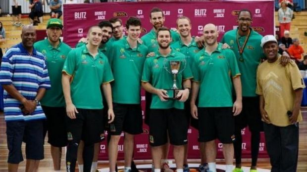 Pre-season champs: The Townsville Crocodiles with Leroy Loggins and Cal Bruton.