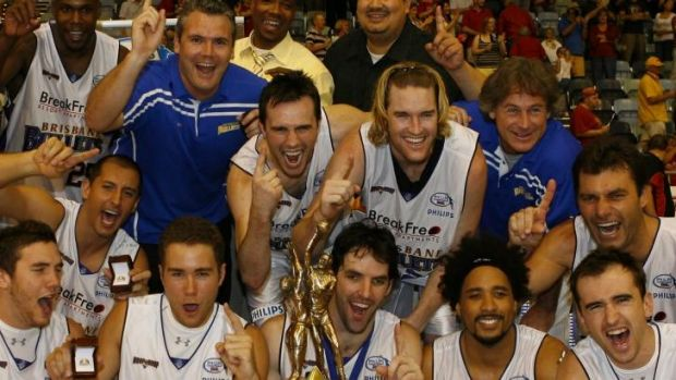 Glory days: Brisbane Bullets celebrate their 2007 grand final triumph.