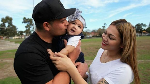 Happy family: Murdoch-Masila with daughter Acacia-Rose - named after the place in Brisbane he and Fotuaika first met -  ...