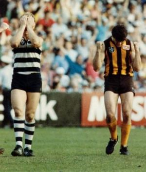 Will's father, Chris, celebrating Hawthorn's 1989 grand final win.