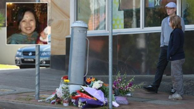 Flowers for Mijin Shin (inset), who died after being hit by a bus at an intersection in Beecroft.
