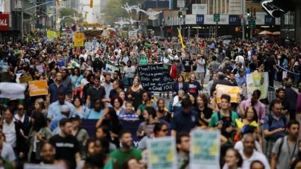 Finding voice: An estimated 300,000 people marched from Central Park in climate action.