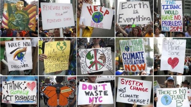 Message: Protest signs carried at the People's Climate March in New York.