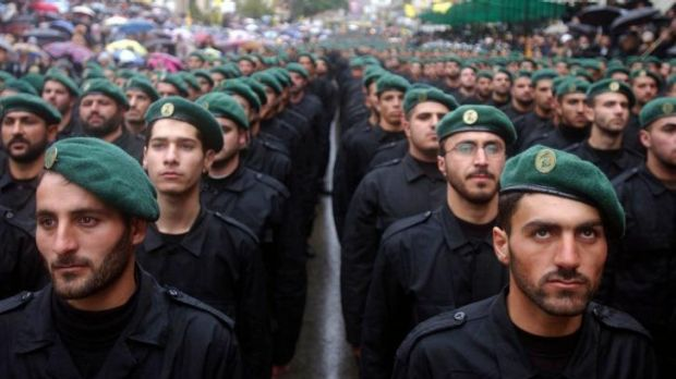 No threat to the United States: Hezbollah soldiers on parade in 2002.