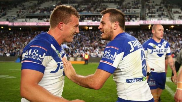 Canny duo: Canterbury halves Trent Hodkinson and Josh Reynolds celebrate the playoff win over Manly.
