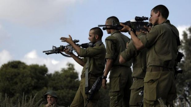 Israeli soldiers on a training exercise near the Israel-Gaza border.